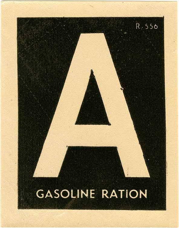 US Gasoline Ration Windshield Sticker