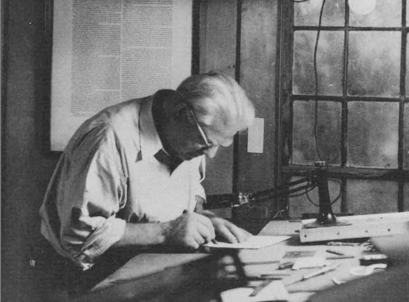 Photo of Frederic Goudy Working