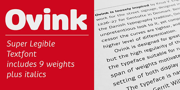 Ovink typeface specimen
