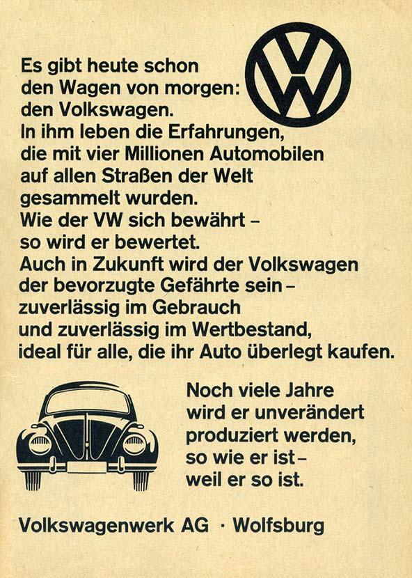 Volkswagon ad using Akzidenz Grotesk
